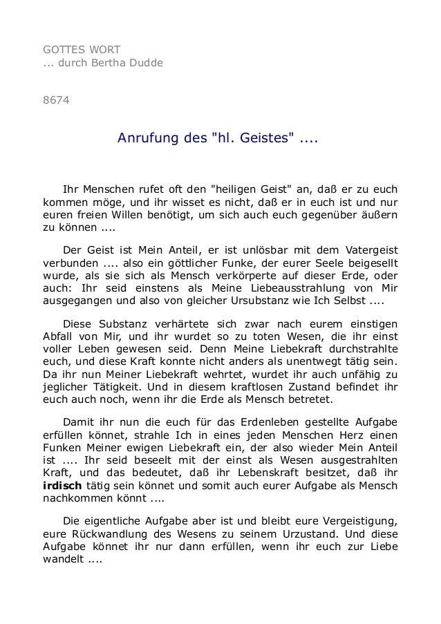 """GOTTES WORT ... durch Bertha Dudde 8674 Anrufung des """"hl. Geistes"""" .... Ihr Menschen rufet oft den """"heiligen Geist"""" an, da..."""