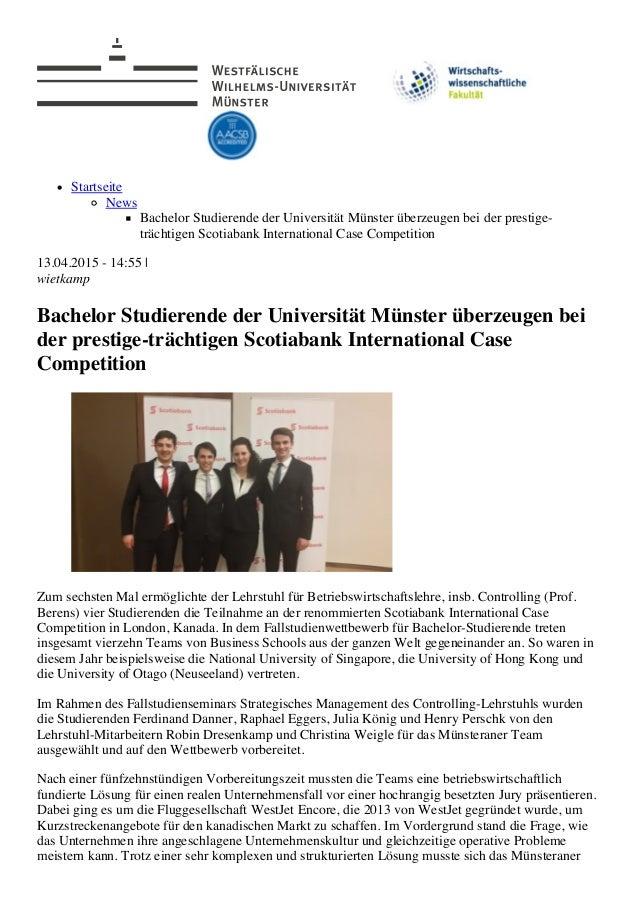 5/23/2015 Bachelor Studierende der Universität Münster überzeugen bei der prestige-trächtigen Scotiabank International Cas...