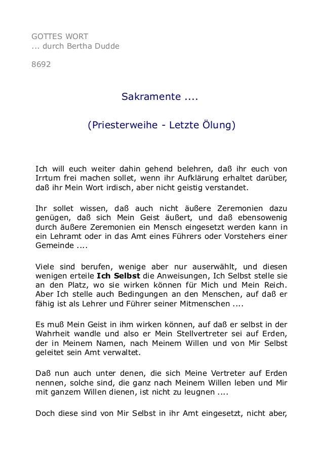 GOTTES WORT ... durch Bertha Dudde 8692 Sakramente .... (Priesterweihe - Letzte Ölung) Ich will euch weiter dahin gehend b...