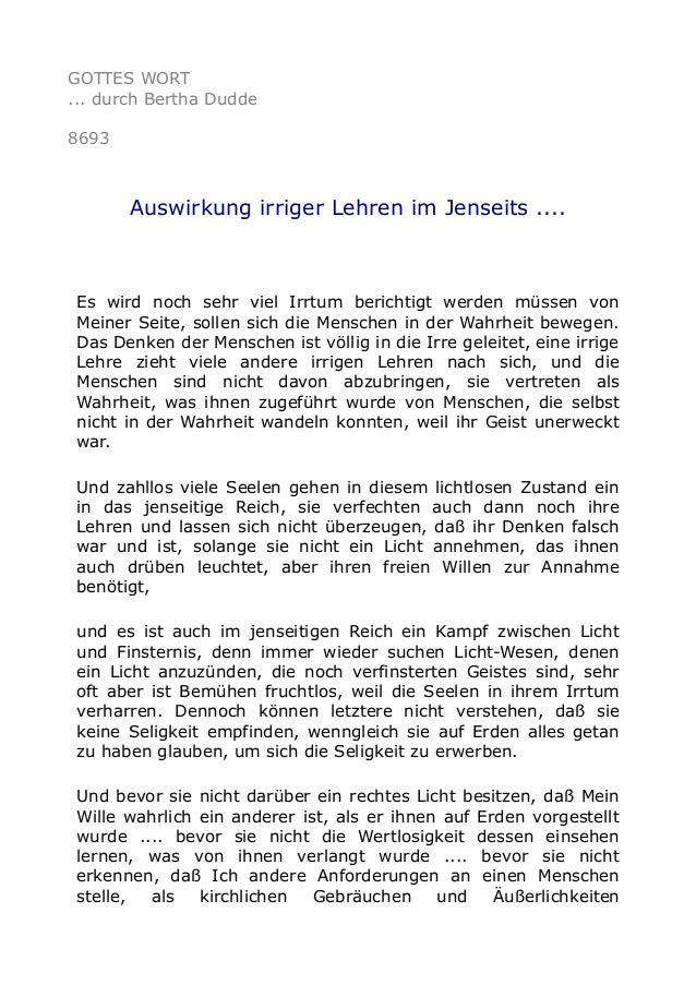 GOTTES WORT ... durch Bertha Dudde 8693 Auswirkung irriger Lehren im Jenseits .... Es wird noch sehr viel Irrtum berichtig...