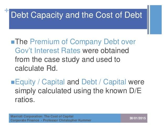 marriot corp cost of capital Free essay: marriot corporation : the cost of capital in front of dan chores is the  issue of recommending three hurdle rates for each of marriott.