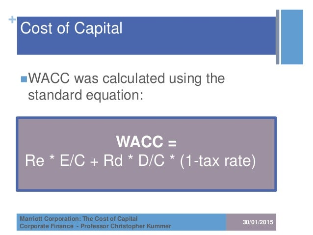 marriot corporation cost of capital essay Marriott wacc essay marriott wacc and over other 28,000+ free term papers leverage, and the opportunity cost of the investor if marriott's lodging line used some type of average wacc for the entire company.