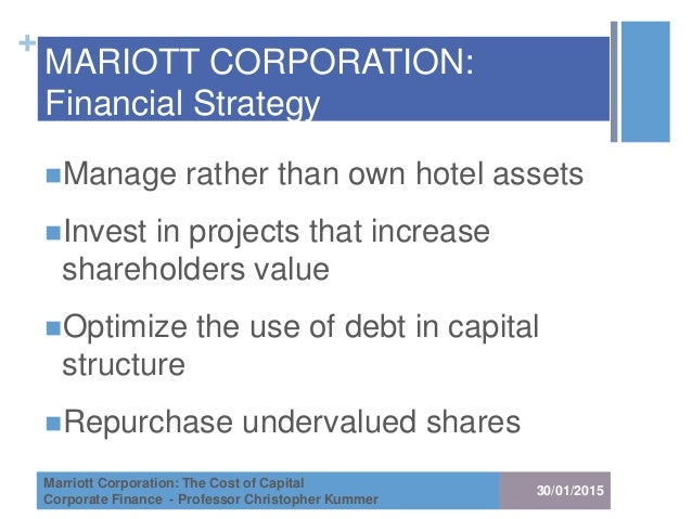 calculating wacc for marriot Marriott measures the opportunity cost of capital for investments of similar risk using the weighted average cost of capital (wacc) the scope of this analysis is to assist marriott in selecting the appropriate hurdle rate for each division as of april 1988 (valuation date).