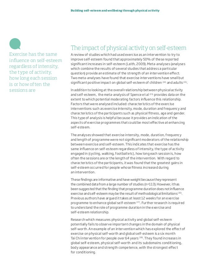 Building self-esteem and wellbeing through physical activity Theimpactofphysicalactivityonself-esteem A review of studies ...