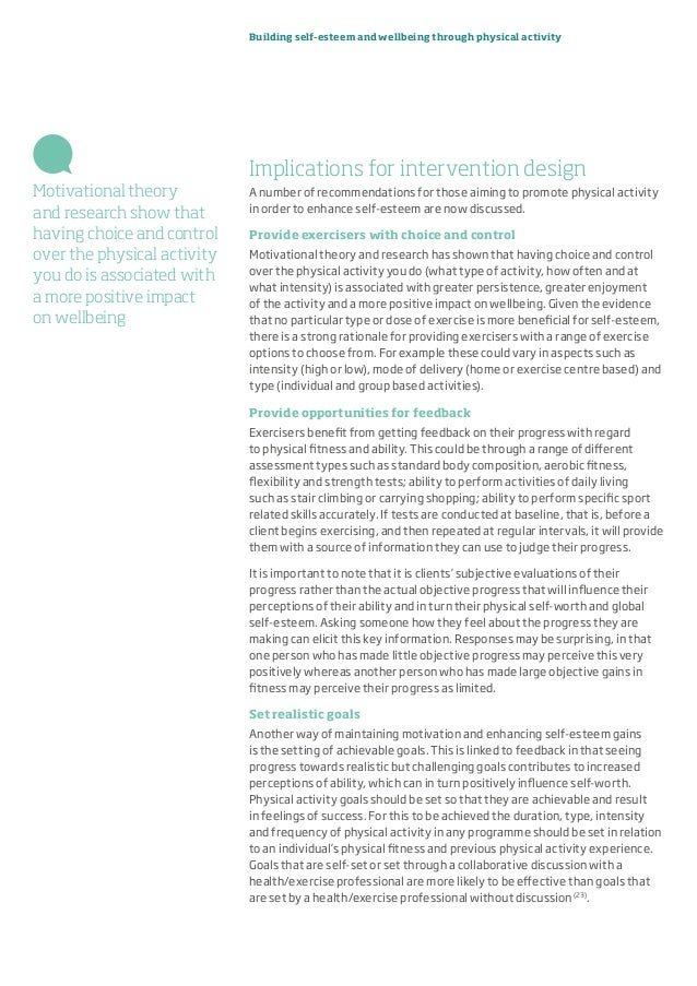 Building self-esteem and wellbeing through physical activity Implications for intervention design A number of recommendati...