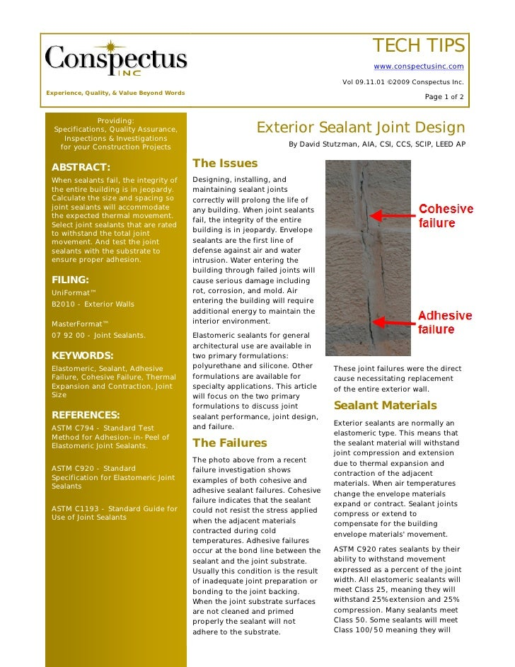 TECH TIPS Exterior Sealant Joint Design