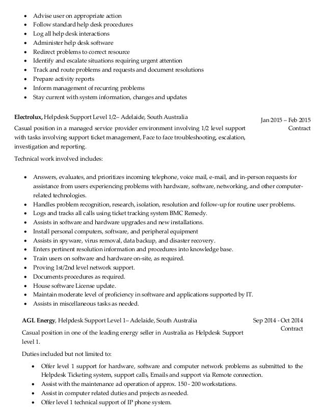Desktop Support Job Resume. technical support engineer job ...