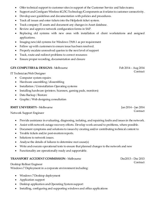 customer support engineer resume samples - It Support Resume