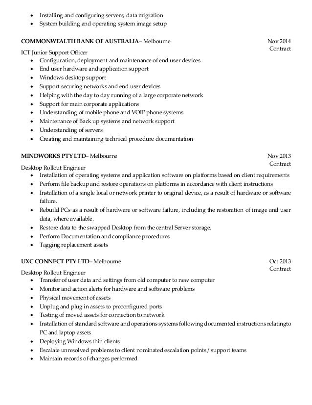 desktop support resume samples - Desktop Support Engineer Resume Sample
