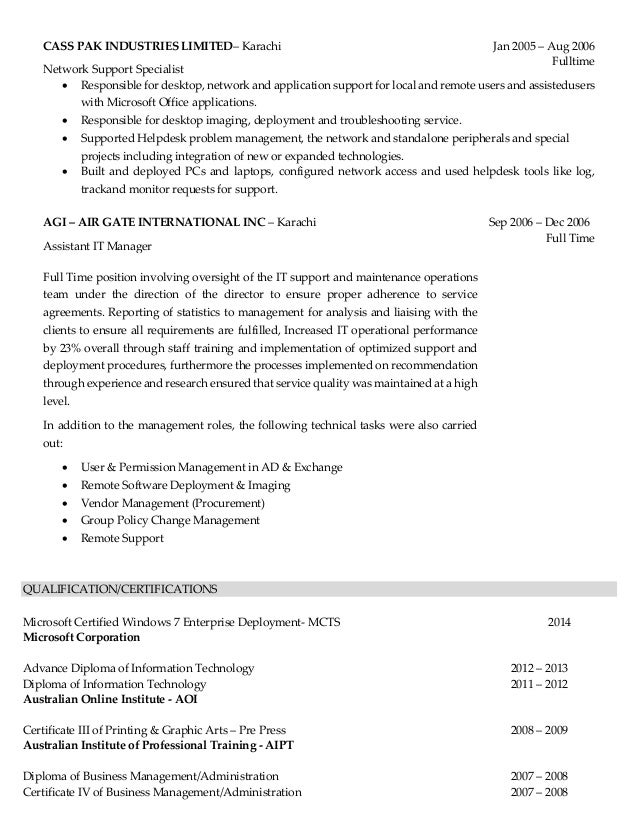 Desktop Support Resume desktop support technician resume 6