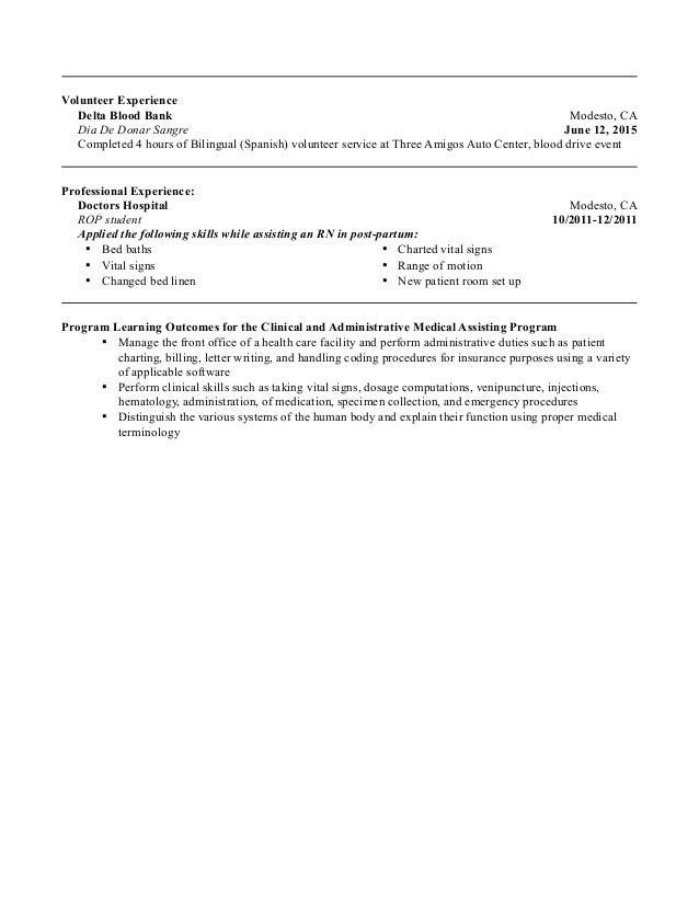medical assistant student resume