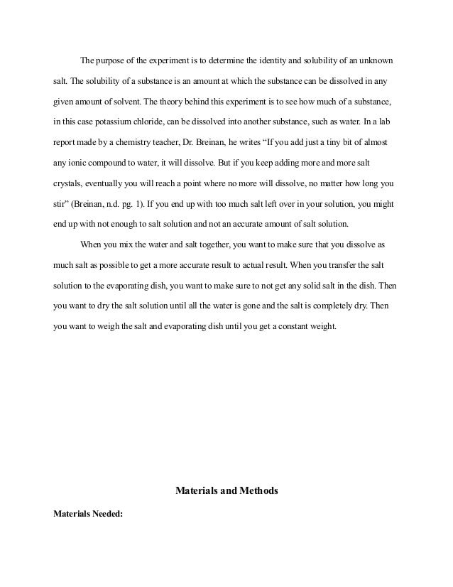sample lab reports chemistry