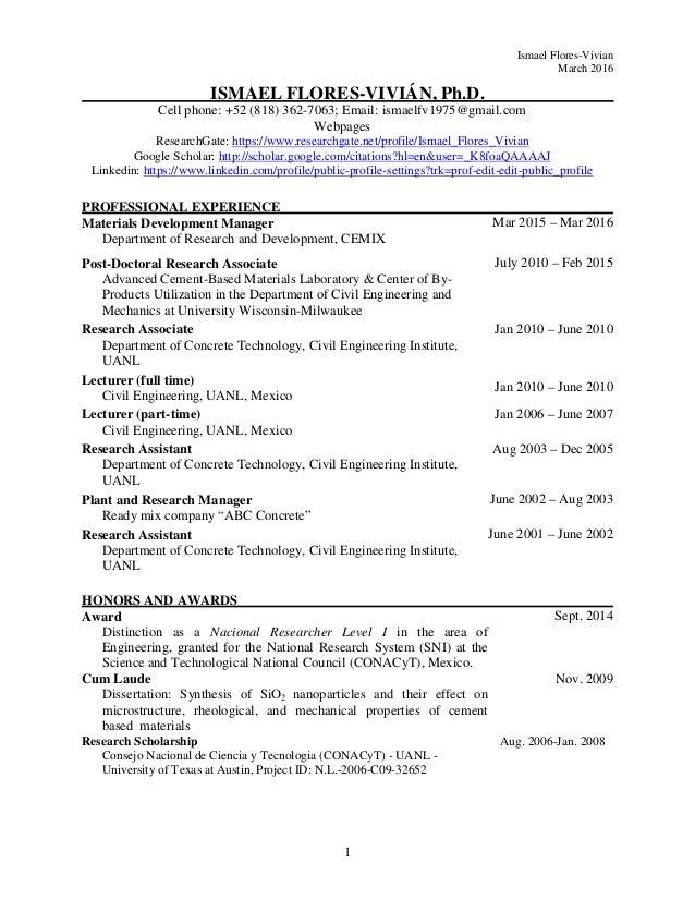 CV Ismael Flores 14-03-2016