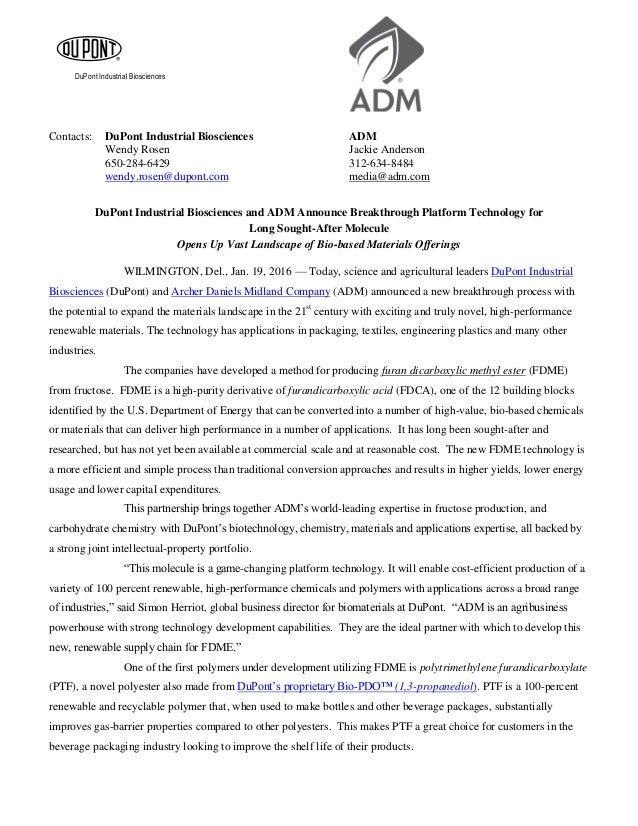 DuPont Industrial Biosciences Contacts: DuPont Industrial Biosciences ADM Wendy Rosen Jackie Anderson 650-284-6429 312-634...