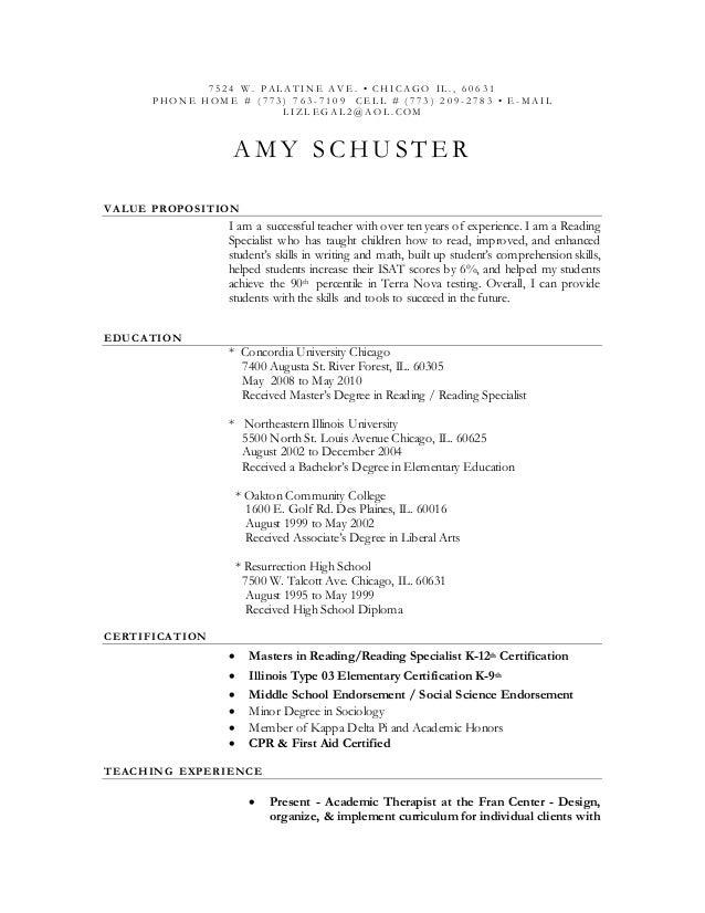 7 5 2 4 W . P A L A TINE A V E .  Reading Specialist Resume