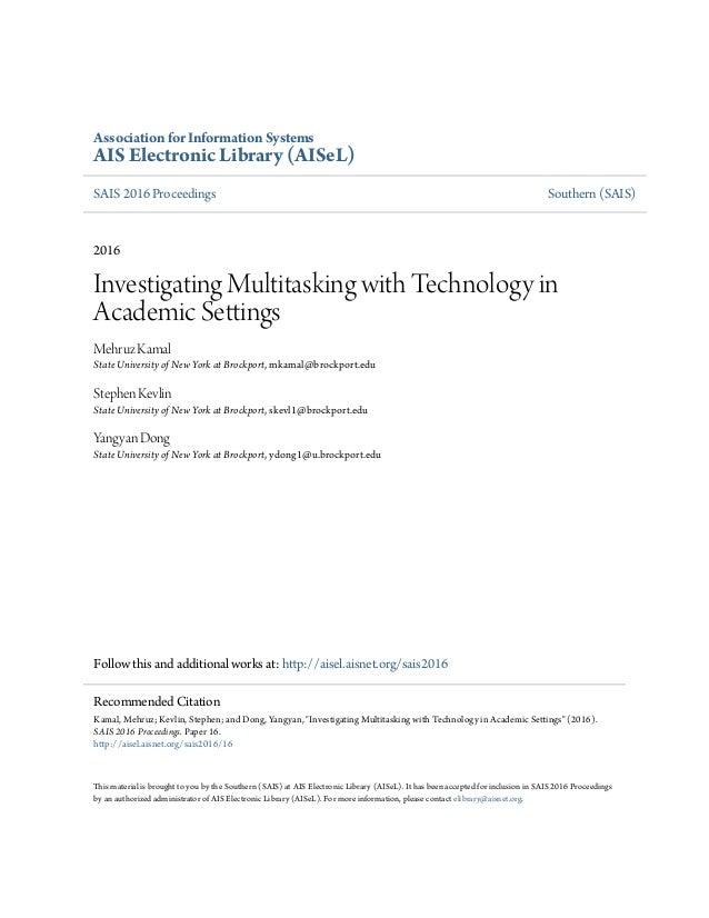 Association for Information Systems AIS Electronic Library (AISeL) SAIS 2016 Proceedings Southern (SAIS) 2016 Investigatin...