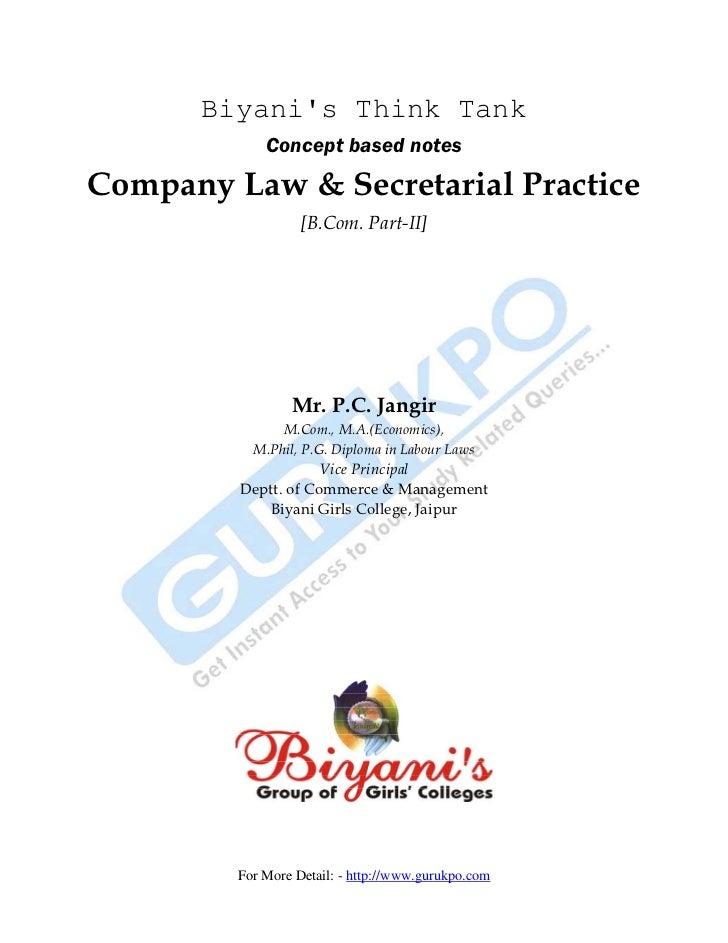 Biyanis Think Tank             Concept based notesCompany Law & Secretarial Practice                   [B.Com. Part-II]   ...