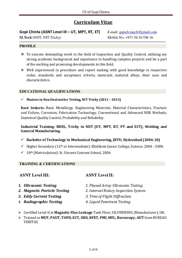 CV Of Gopi Chinta 1 Of 6 Curriculum Vitae Gopi Chinta (ASNT Level III ...