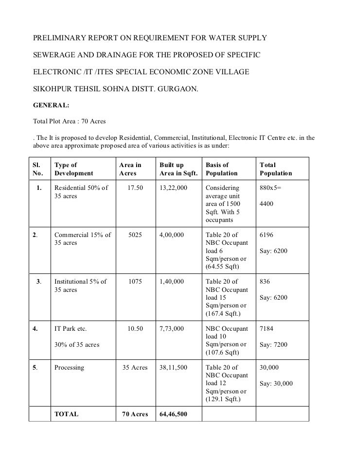 PRELIMINARY REPORT ON REQUIREMENT FOR WATER SUPPLYSEWERAGE AND DRAINAGE FOR THE PROPOSED OF SPECIFICELECTRONIC /IT /ITES S...