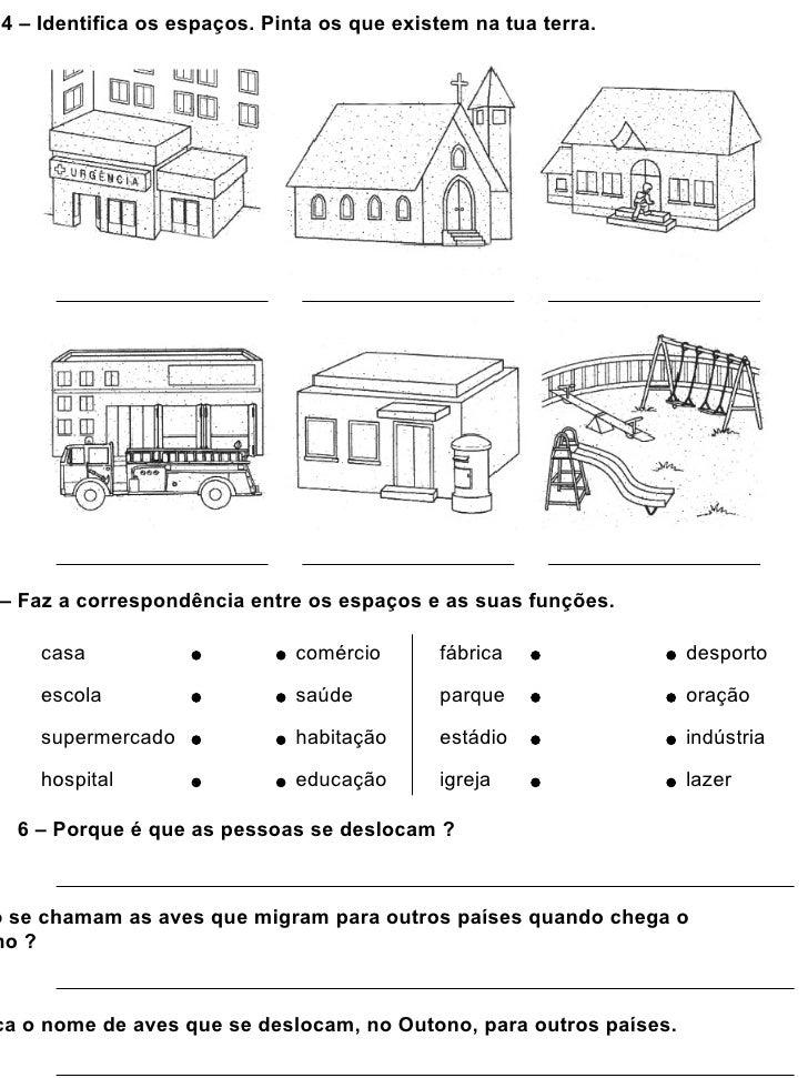 4 – Identifica os espaços. Pinta os que existem na tua terra.– Faz a correspondência entre os espaços e as suas funções.  ...
