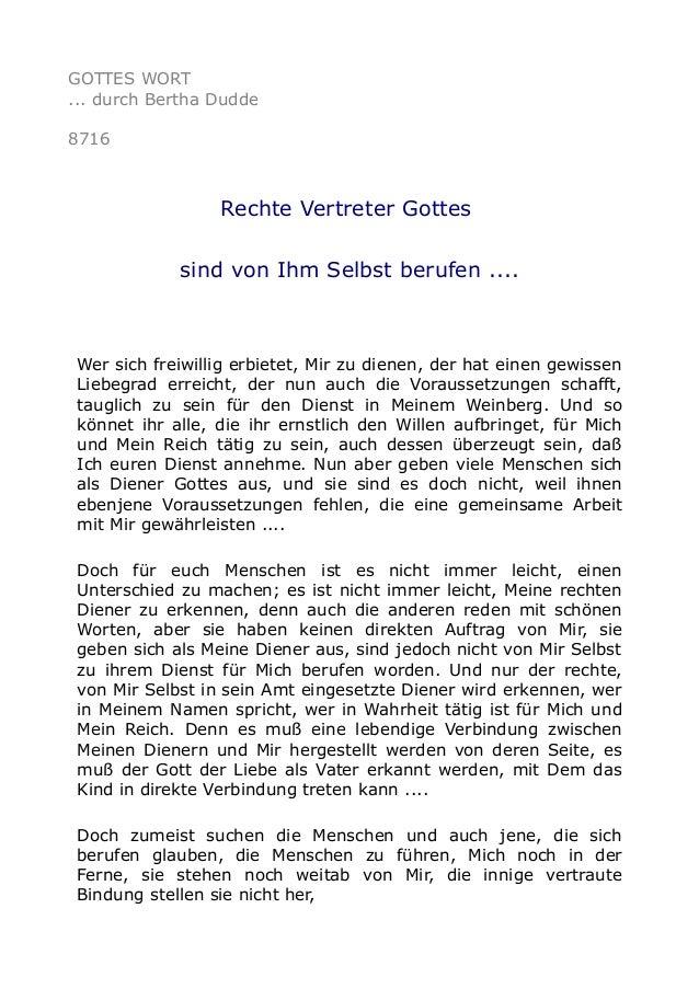 GOTTES WORT ... durch Bertha Dudde 8716 Rechte Vertreter Gottes sind von Ihm Selbst berufen .... Wer sich freiwillig erbie...