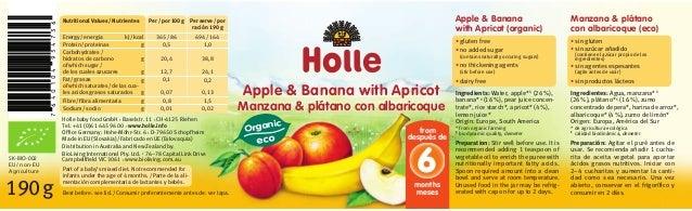Manzana & plátano con albaricoque (eco) Ingredientes: Agua, manzana*1 (26%), plátano*1 (16%), zumo concentrado de pera*, h...