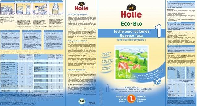 Leche para lactantes Bio 1 Leche para lactantes Bio 1 de Holle está compuesto de más de un 99 % de ingredientes procedente...