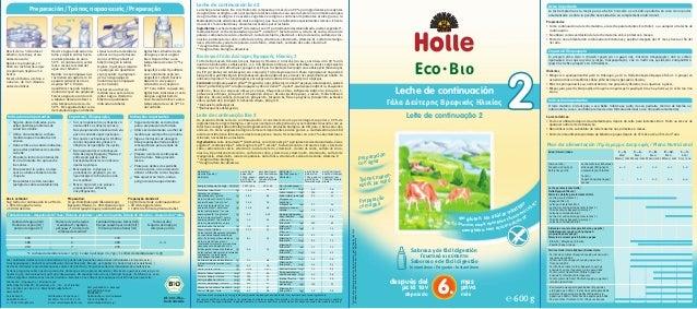 Leche de continuación Eco 2 La leche para lactantes Eco 2 de Holle está compuesta en más de un 99% por ingredientes proced...