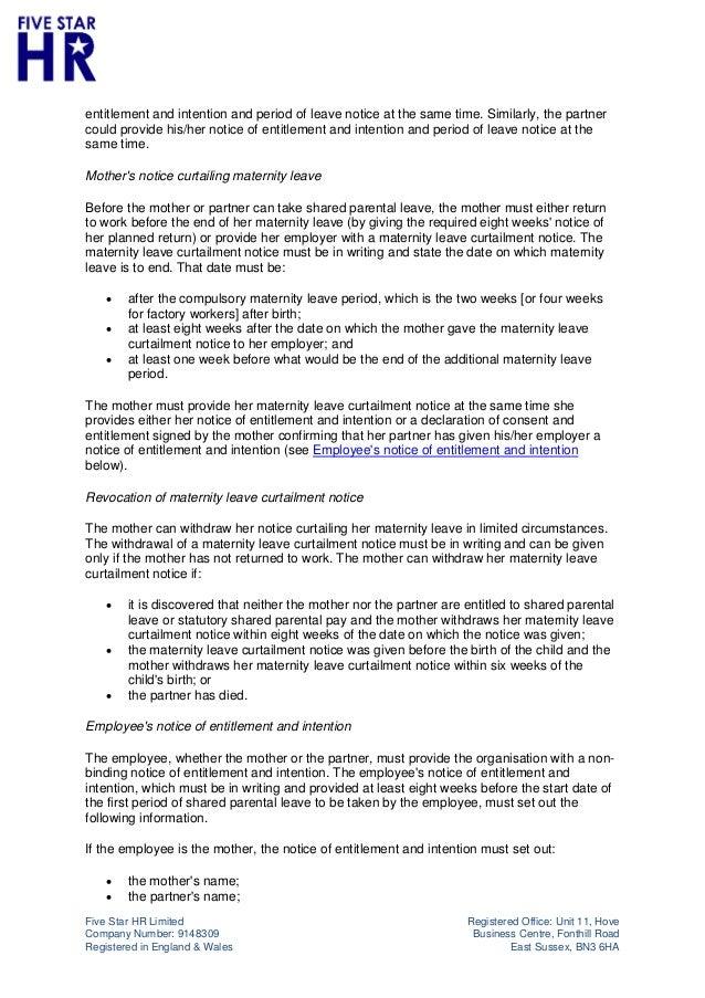 Five star hr shared parental leave policy maternity leave curtailment notice notice of 4 altavistaventures Choice Image