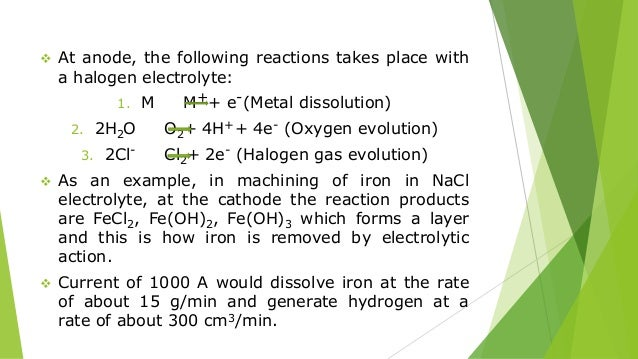  At anode, the following reactions takes place with a halogen electrolyte: 1. M M++ e-(Metal dissolution) 2. 2H2O O2+ 4H+...