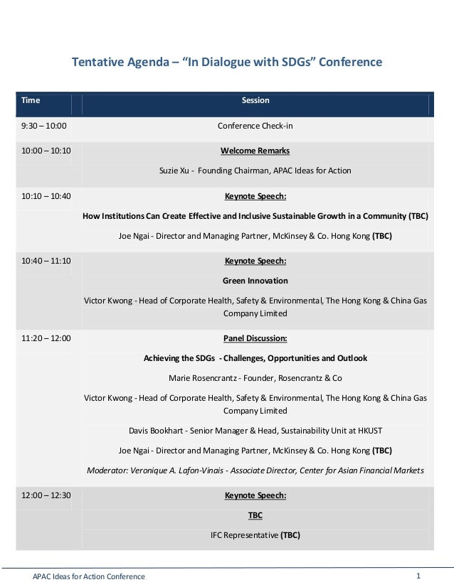 Apac Ideas For Action Sdgs Conference Agenda