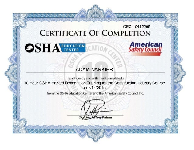 Osha 10 hour construction certificate bing images for Osha 10 certificate template