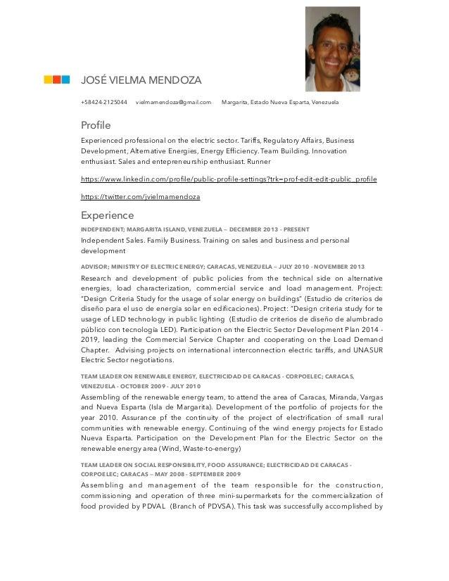 Resume - Jose Vielma Mendoza 010815