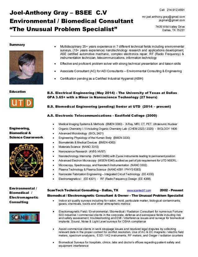 Joel Gray Environmental Biomedical Consultant CV Jan 2017 MAC Radon …