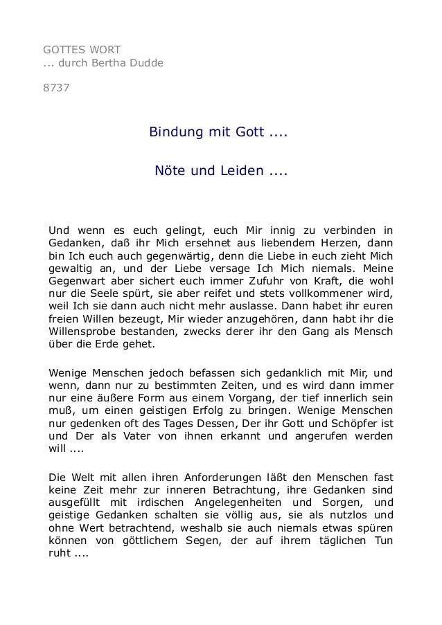 GOTTES WORT ... durch Bertha Dudde 8737 Bindung mit Gott .... Nöte und Leiden .... Und wenn es euch gelingt, euch Mir inni...