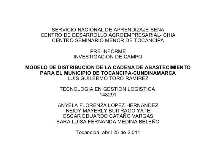 SERVICIO NACIONAL DE APRENDIZAJE SENA CENTRO DE DESARROLLO AGROEMPRESARIAL- CHIA CENTRO SEMINARIO MENOR DE TOCANCIPA PRE-I...
