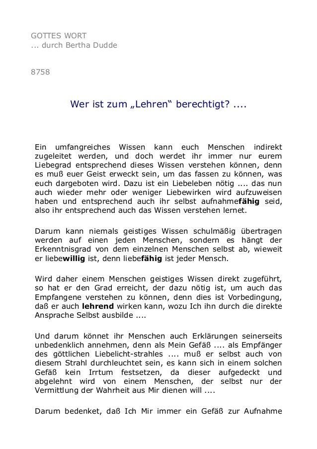 """GOTTES WORT ... durch Bertha Dudde 8758 Wer ist zum """"Lehren"""" berechtigt? .... Ein umfangreiches Wissen kann euch Menschen ..."""