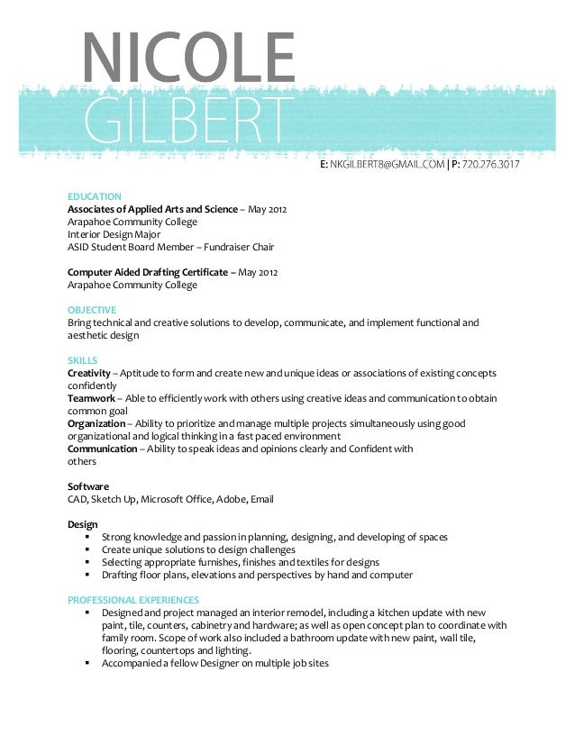 Nicole Gilbert Design Resume