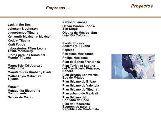 Empresas….. Proyectos Nabisco Famosa Ocean Garden Foods- San Diego Olguita de México- San Luis Rió Colorado Pacific Shores...