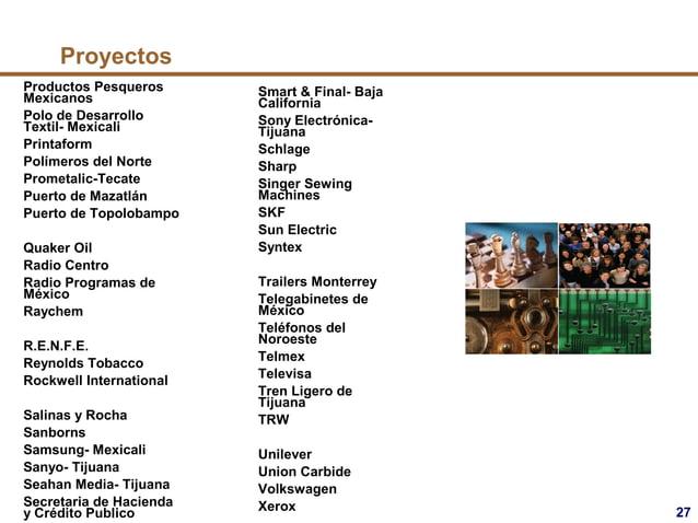 27 Proyectos Productos Pesqueros Mexicanos Polo de Desarrollo Textil- Mexicali Printaform Polímeros del Norte Prometalic-T...