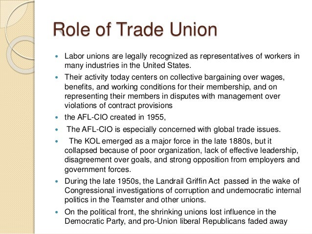Unions trade the relations of role industrial in