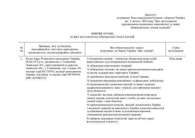 """Додаток 1 до рішення Ради національної безпеки і оборони України від 2 лютого 2021 року """"Про застосування персональних спе..."""