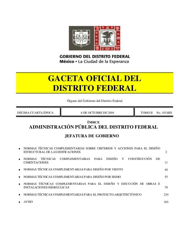 GACETA OFICIAL DEL                  DISTRITO FEDERAL                           Órgano del Gobierno del Distrito FederalDÉC...