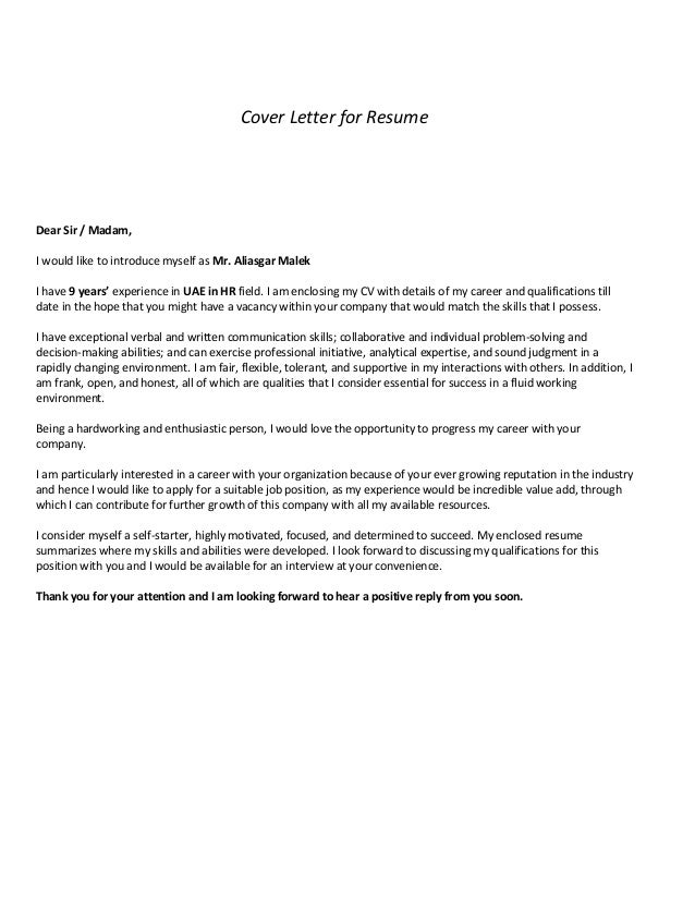 Superb Cover Letter For Resume Dear Sir / Madam, I Would Like To Introduce Myself  As ...