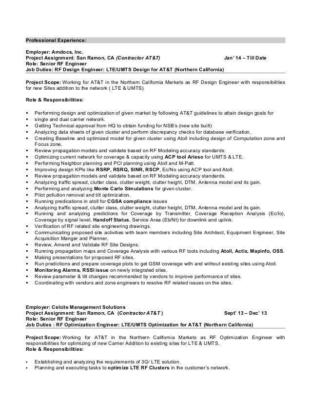 lte rf optimization engineer resume