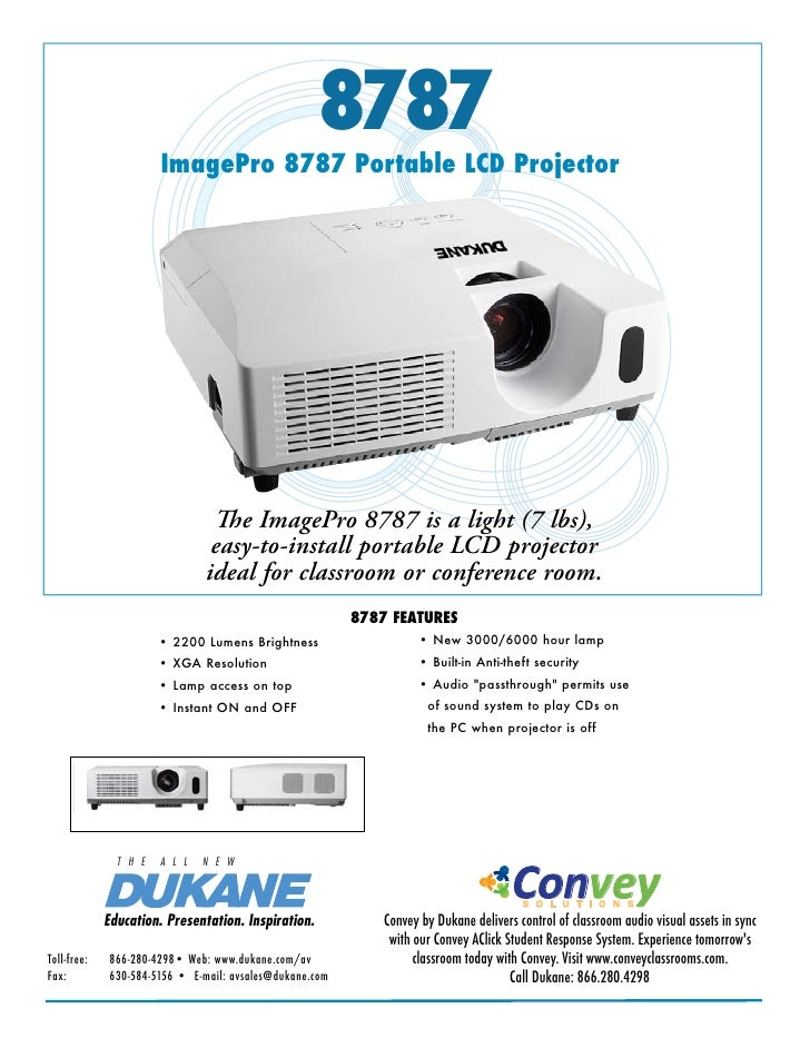 8787                         ImagePro 8787 Portable LCD Projector                                       The ImagePro 8787 ...
