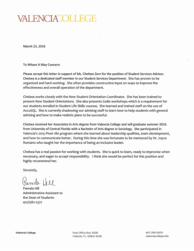 letter of rec pam hill student services advisor