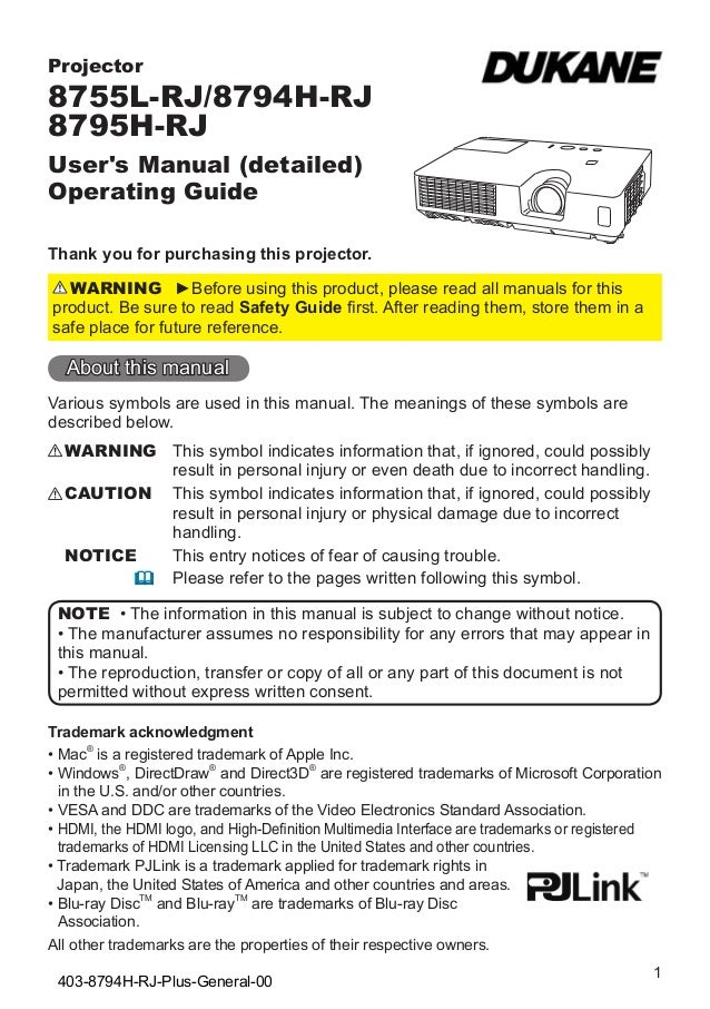 Projector  8755L-RJ/8794H-RJ 8795H-RJ User's Manual (detailed) Operating Guide Thank you for purchasing this projector. WA...