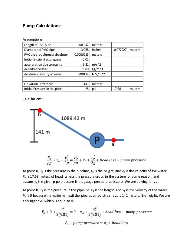 Pump calculations explanation pump calculations assumptions lengthof pvcpipe 108942 meters diameterof pvcpipe 3068 inches 0077927 meters pvcpipe ccuart Images