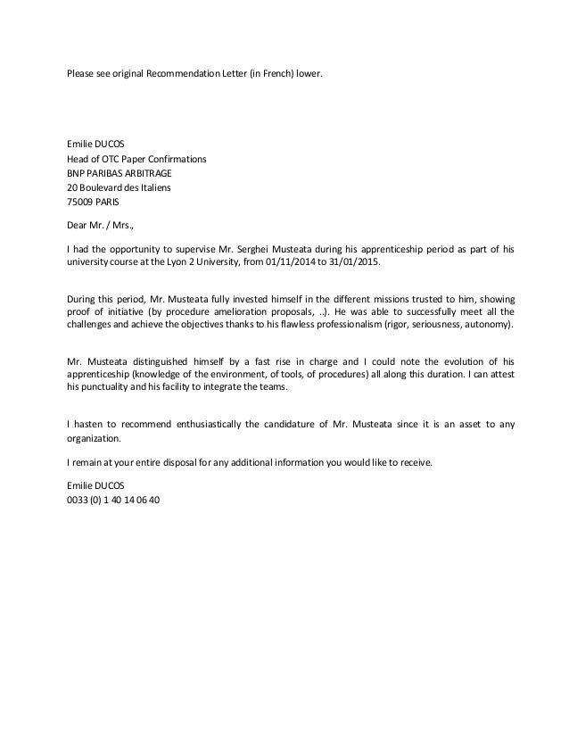 Recommendation Letter BNP ARBITRAGE